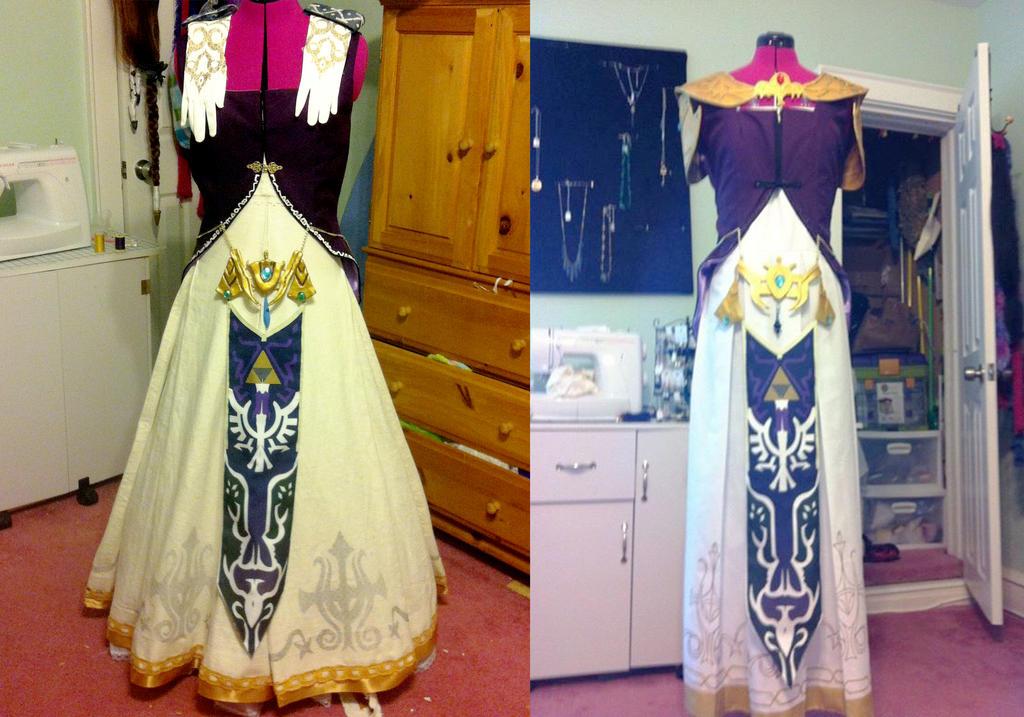 old vs new princess zelda dress by carblecca
