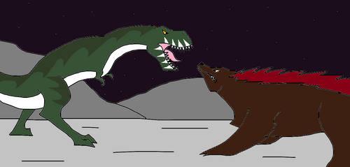 T-Rex vs Demon Bear by Syfyman2XXX