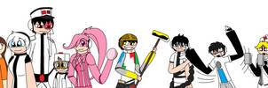 Littlemak, Wall-E, Eva, Auto, M-O and Regect Bots by Ced145