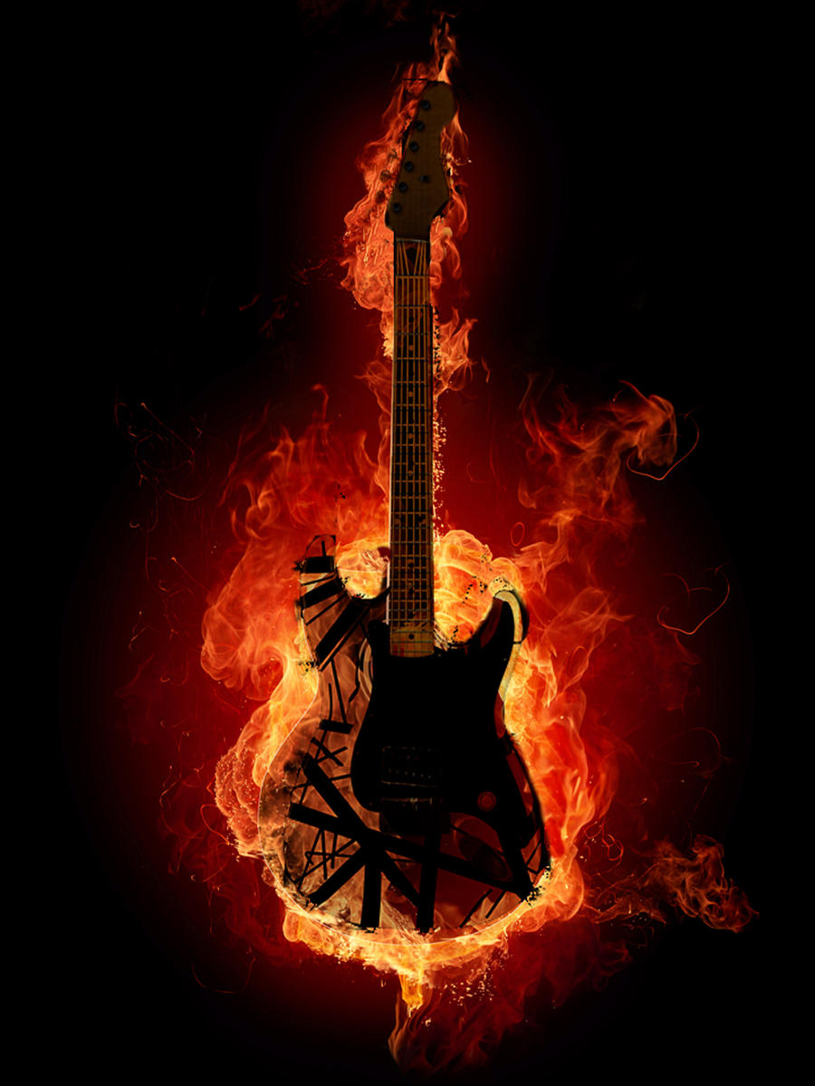 electric guitar on fire by tariqrassool on deviantart. Black Bedroom Furniture Sets. Home Design Ideas