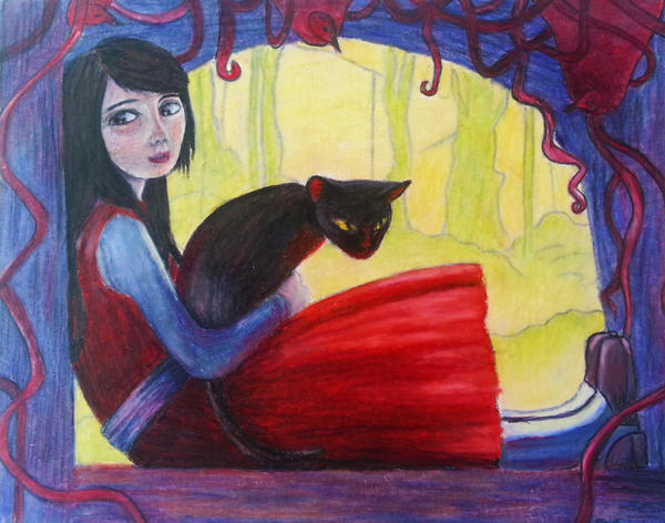 Girl in Red Dress with Cat by thelittlebrownwren