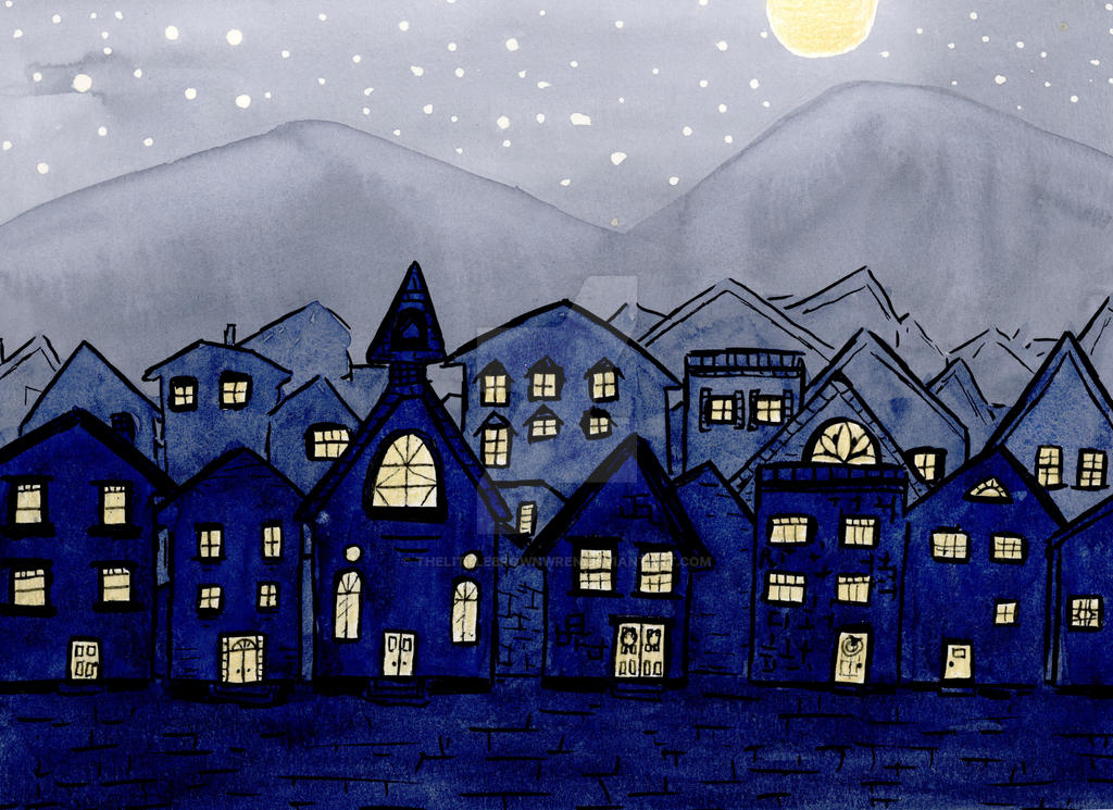 Village at Night by thelittlebrownwren