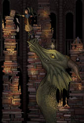 A Dragon in the Library by Claudie-G