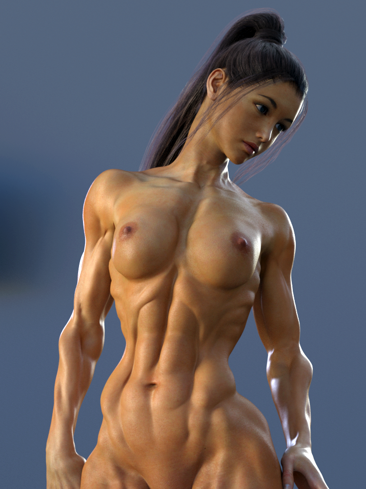 ripped naked female abs