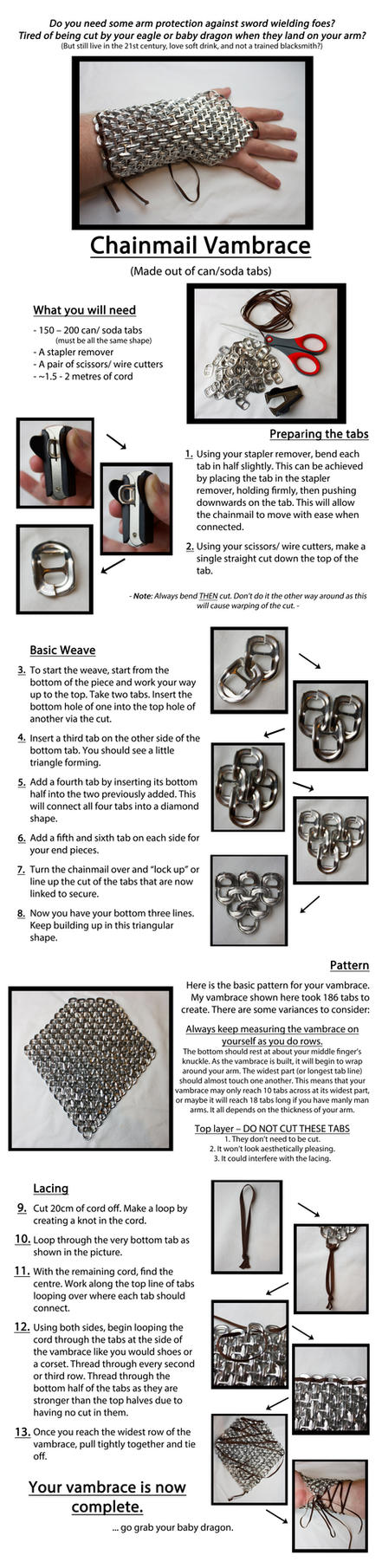 Can/ Soda Tab Chainmail Vambrace Tutorial by kirilee