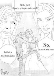 Zedd and Cara: Strike Hard (Line Art) by pristineungift
