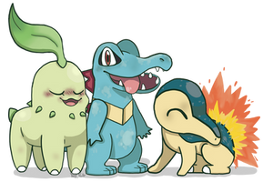Johto starter Pokemon by yetinotii