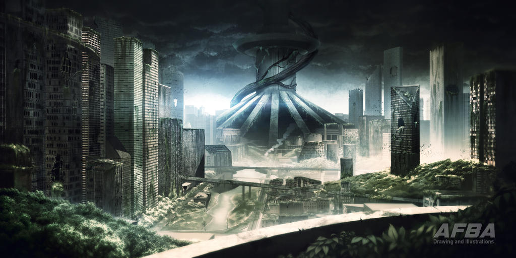 Matte painting space elevator postapocalyptic by afba for Space matte painting