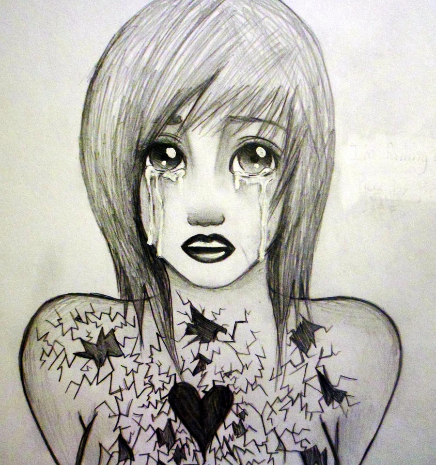 how to draw a broken hearted girl