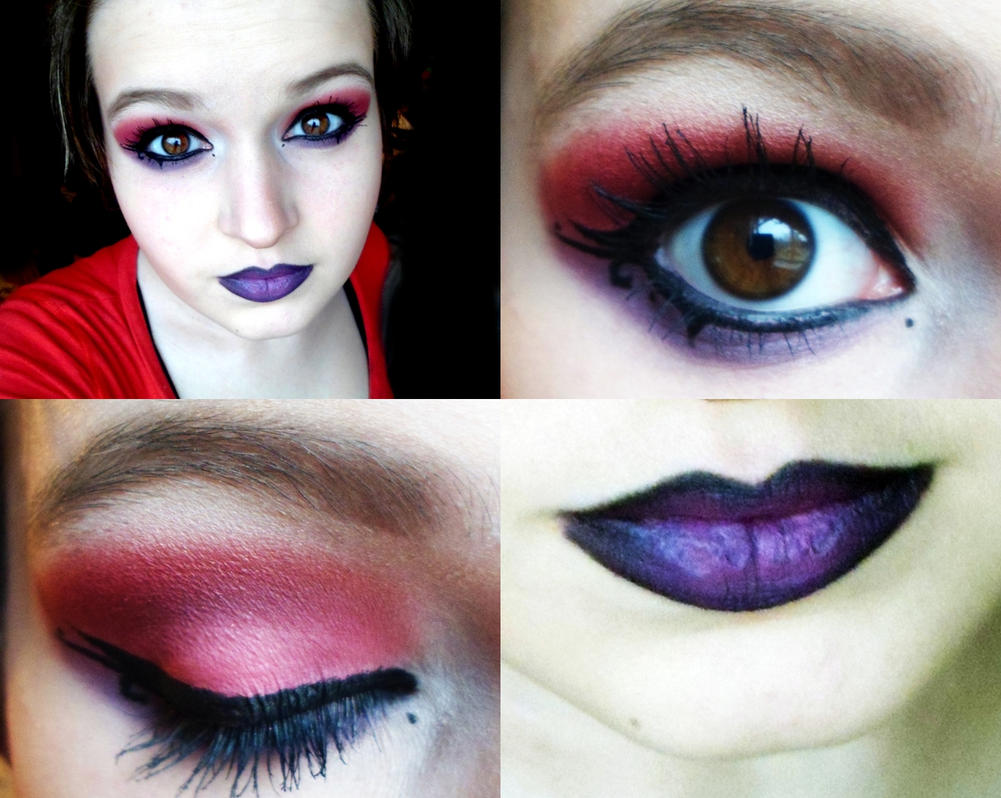Red and Purple Full Face Makeup by lexigirl145