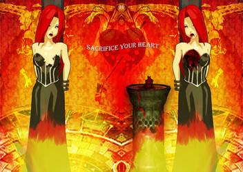 Pentakill Sona and her bleeding heart by softsai