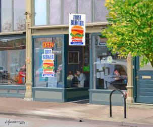 First Burger by Caddisman
