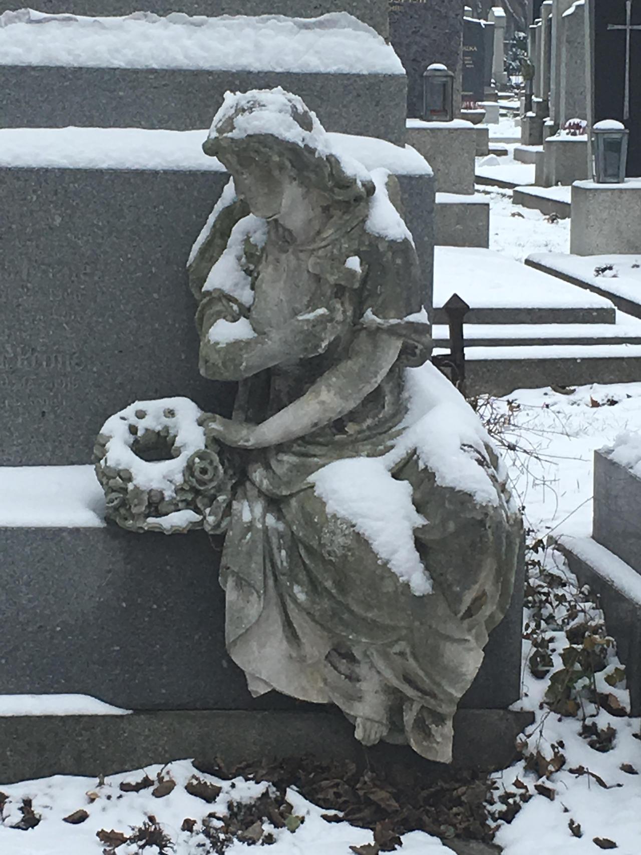 Statue Vienna Zentralfriedhof in snow