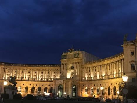 Hofburg Vienna at a cloudy night