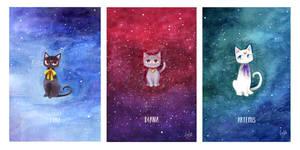 Watercolour Moon Kitties