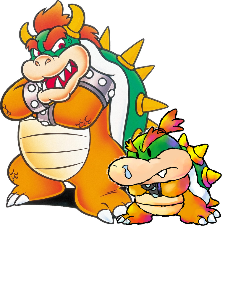 Rather than sporting the same spiked cuffs the male Koopalings have, Bowser Jr. has spikeless, metal cuffs on his wrists, like Baby Bowser since Yoshi Touch & Go. Bowser Jr.'s exact size varies from game to game like his father's.