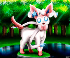 Sylveon in the Lake by Bob-97HTF