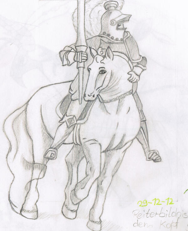 how to draw a knight on a horse easy