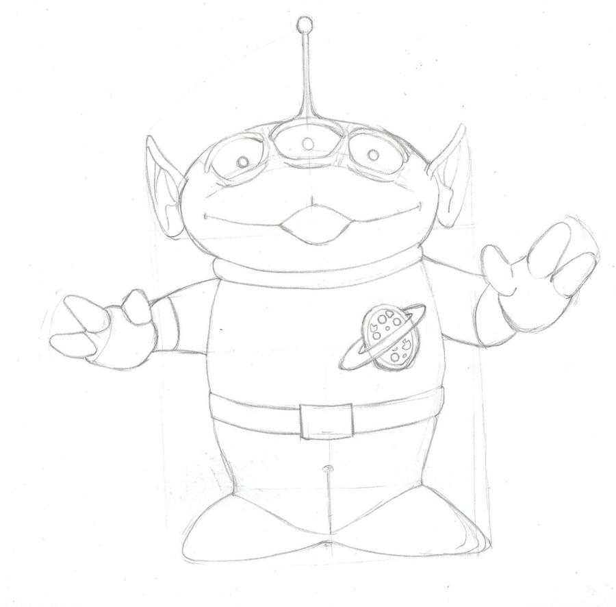 The Little Green Man (Aliens) Sketch - Toy Story By GiuliaIulia On DeviantArt