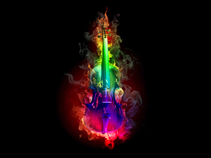 Burning Violin (Rainbow colors) by KAT-TUNKameMary on ...