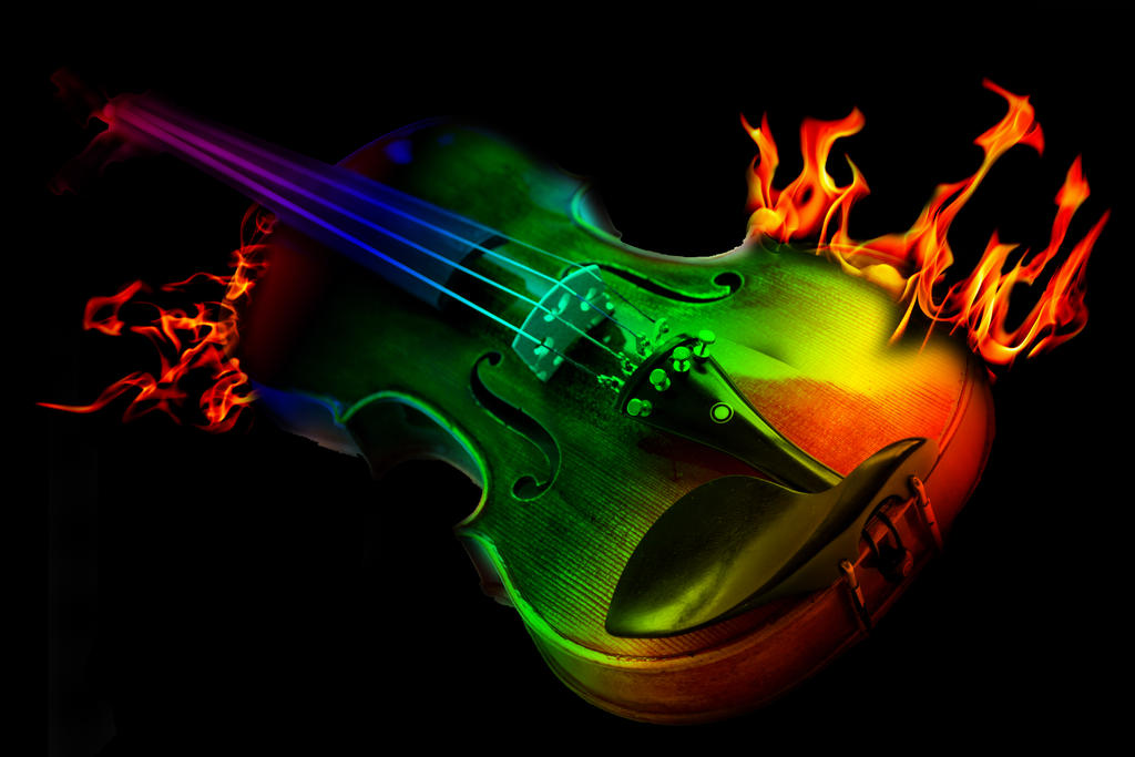 Flamed Violin(Rainbow colors) by KAT-TUNKameMary on DeviantArt