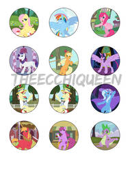 Mane 6/Background Ponies Button Pack 2017 by TheEcchiQueen