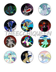Villain/Background Pony Button Pak 2016 by TheEcchiQueen
