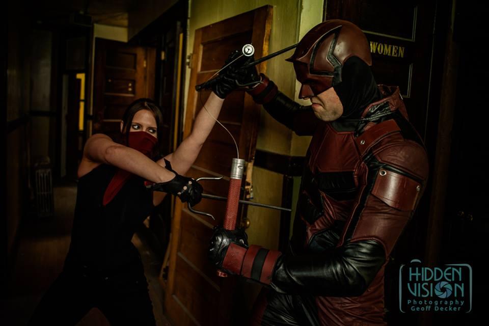 Elektra and Daredevil Fight Cosplay by NerdySiren
