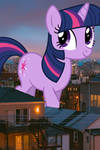 Giant Twilight Sparkle marching through Chicago