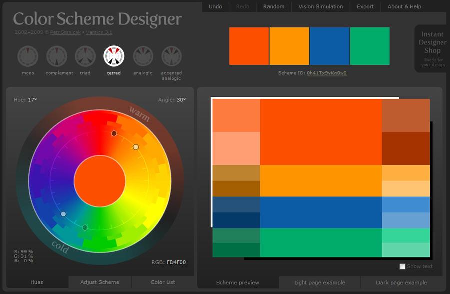 Tetrads Color Scheme By