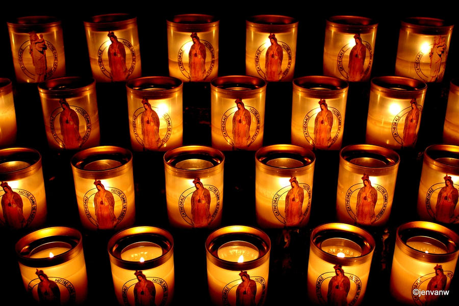 Candles in Notre Dame, Paris by Jenvanw