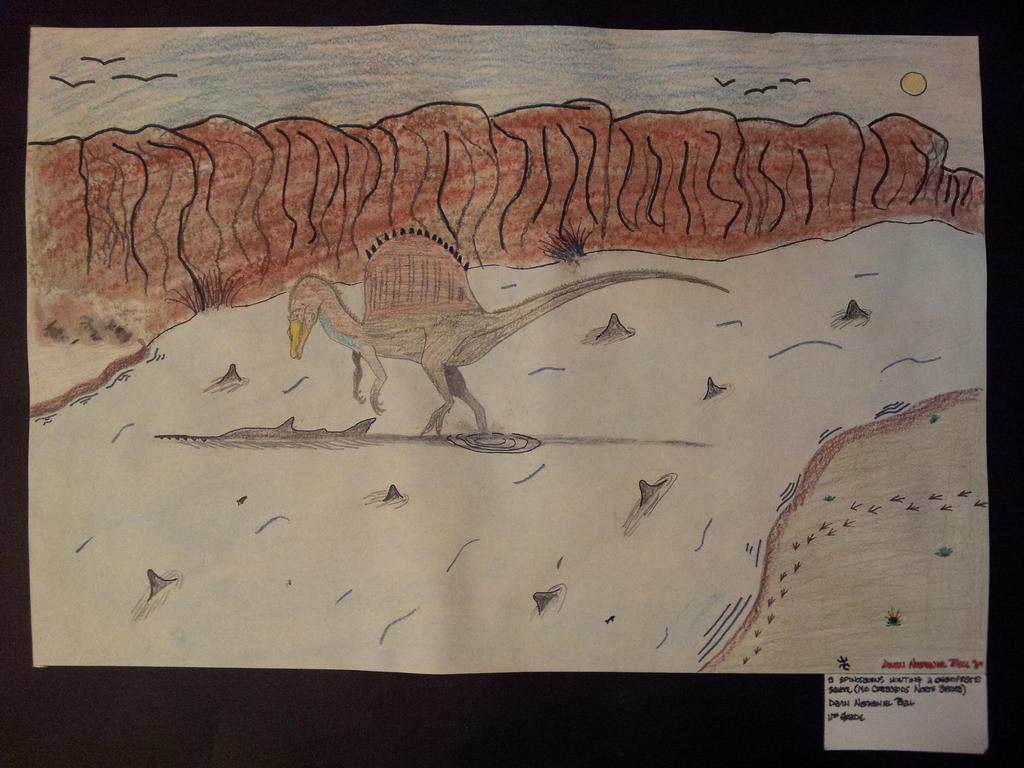 Spinosaurus fishing Onchopristis by twomedicinefm2011