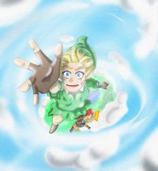 Zelda Skyward Sword: Link falling with Groose by Joly