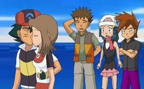 Ash and May kissing, with Brock, Gary and Dawn by Pikachu981