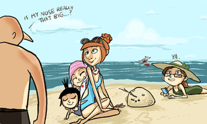 Gru family at the Beach by Super-Cute