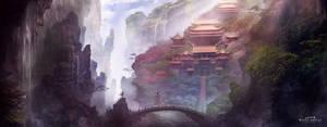 XIAO AO JIAN GHU Game scene illustration