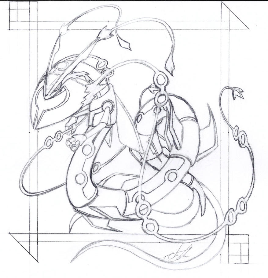 Rayqua Mega Rough Sketch by piratedragon0402