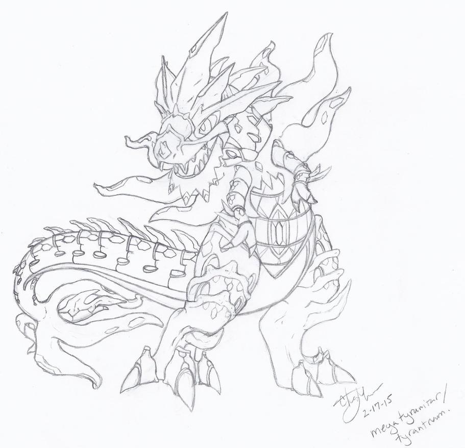 Tyrantrum/Mega Tyranitar fusion... by piratedragon0402