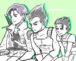 Father and Teacher - Trunks, Vegeta and Cabba by Anante