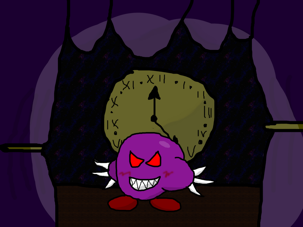 Nightmare Kirby on the stage by RichardtheDarkBoy29