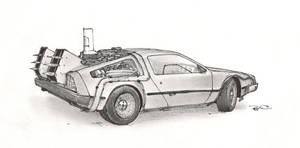 Delorean from BTTF 2 by RobtheDoodler
