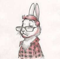 Freaking Hipster Rabbit by RobtheDoodler