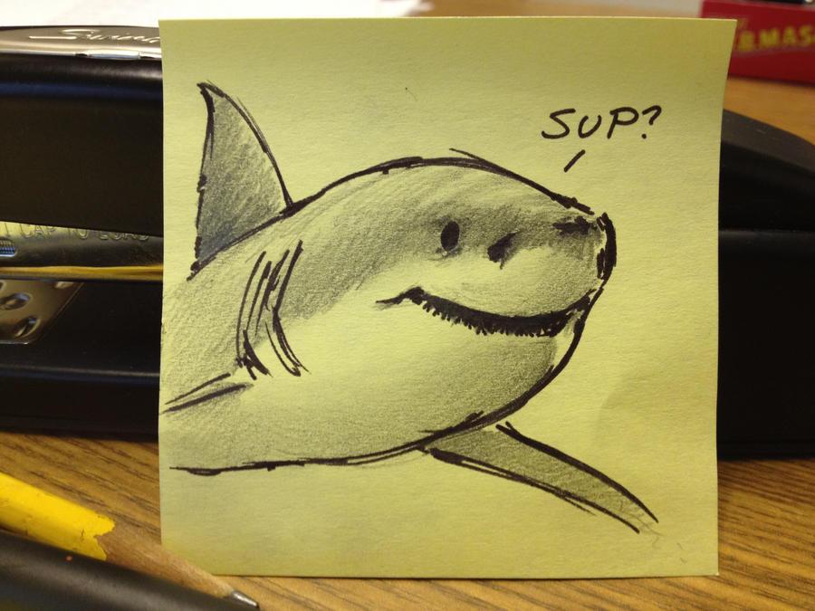 Post it Note Doodle Shark By RobtheDoodler On DeviantArt