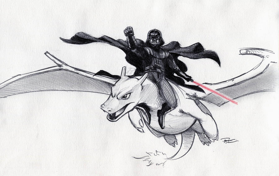 Darth Vader riding Charizard by RobtheDoodler