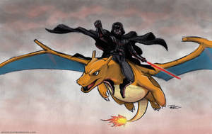 Vader riding Charizard colorized by RobtheDoodler