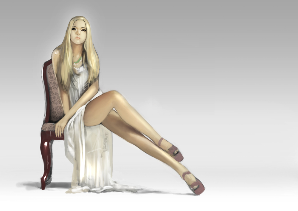 chair and woman by totoro888