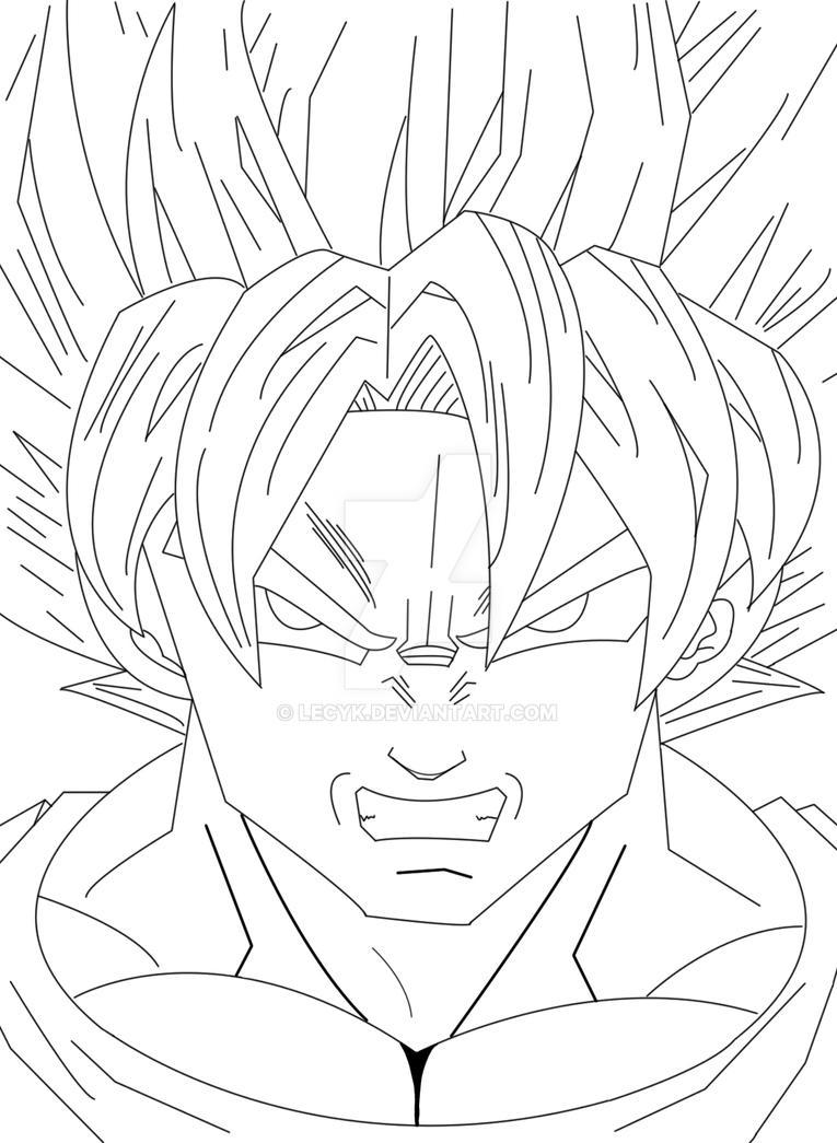 Super Sayian line art by Lecyk