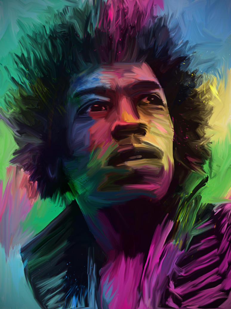 Jimi Hendrix - Digital Oil Painting by JonathanRudolph