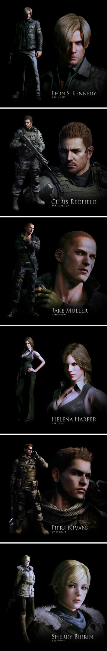 Resident evil 6: all personages by heatheryingNL