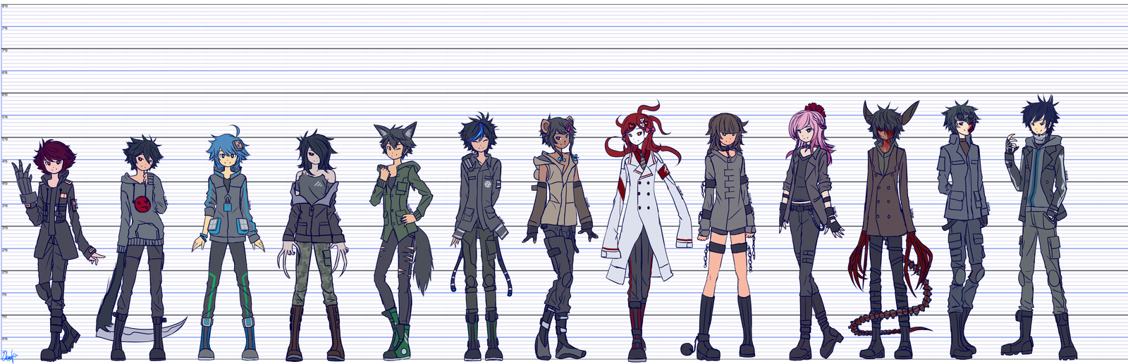 Anime Characters Height : Height chart heroes by elsiikun on deviantart